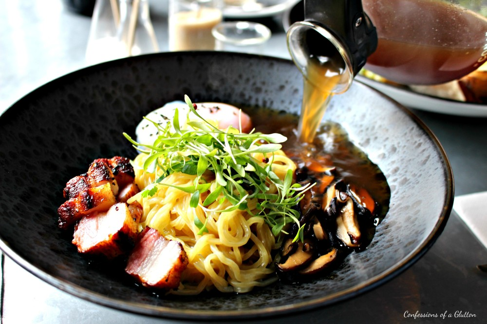 Breakfast Ramen - 62 degree hen's egg, bacon, mushrooms, spring onion with bacon dashi ($19.50)