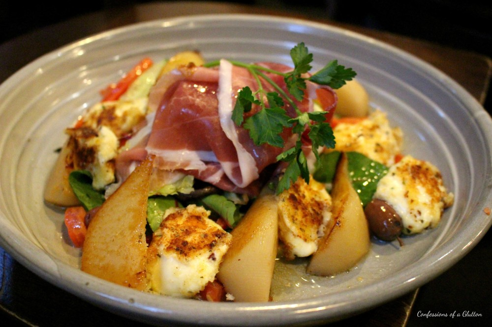 Pear and prosciutto salad with grilled boccocini cheese, also from the specials board