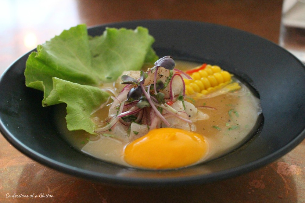 Cebiche ($19): local line caught fish, tigers milk, corn and sweet potato puree