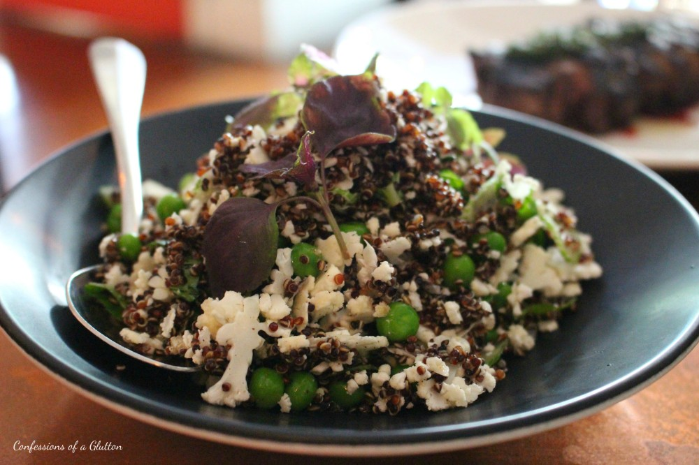 Quinoa with peas, mint and lemon ($16)