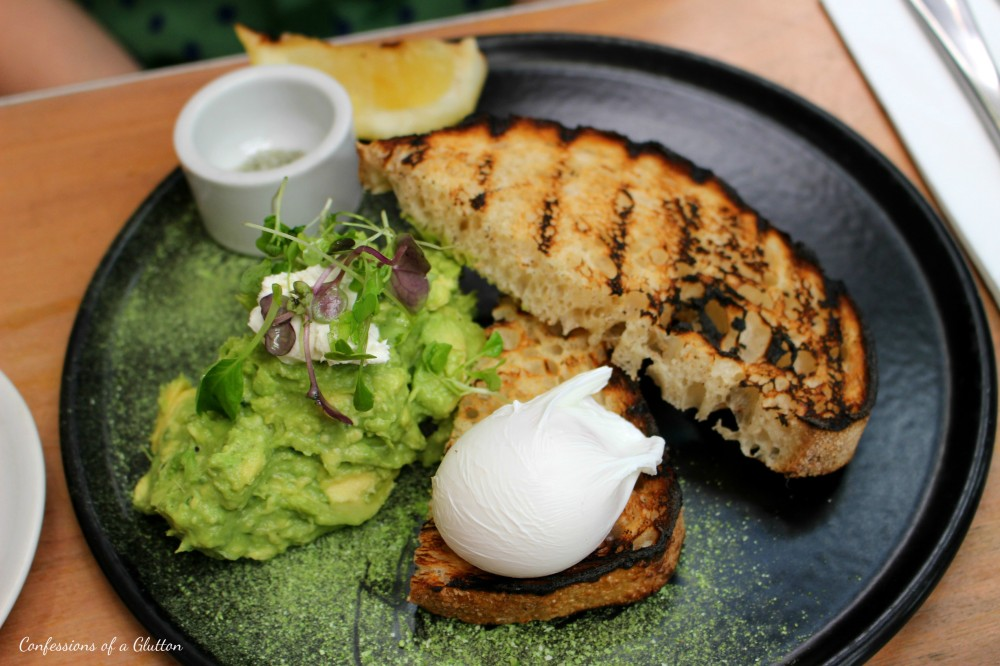 Avocado Smash ($17): chevre, charred lemon, green tea sea salt and sourdough, poached egg ($3.50)
