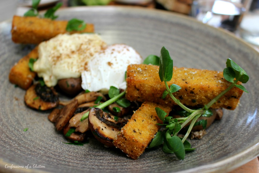 Wild Mushrooms ($22): truffle foam, porcini powder, watercress, polenta chips and a poached egg