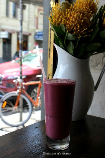 The Governor Smoothie ($9.50): blueberries, strawberries, LSA, chia, wholegrain oats, almond milk